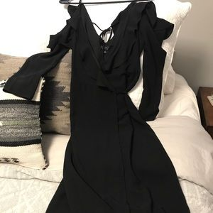 Topshop Cold Shoulder Wrap Dress